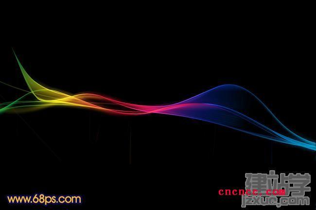 photoshop制作漂亮的彩色光束飘带效果